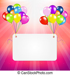 Birthday Card With Balloons, Vector Illustration