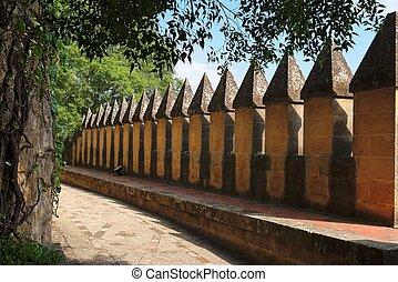 parede, crenellations, Almodovar, del, Rio, medieval,...