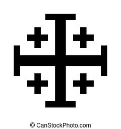 Jerusalem cross - Jeruslalem cross isolated on a white...