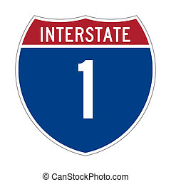 Interstate Highway 1 sign - American Interstate Highway one...