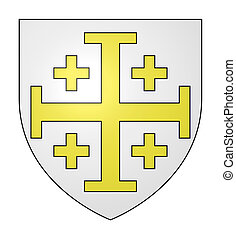 Jerusalem cross on shield - Yellow Jerusalem cross on silver...