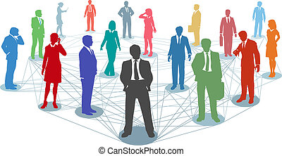 Connect business people network connections - Large group of...