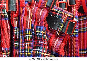 rojo, escocés, faldas escocesas, cinturón,...