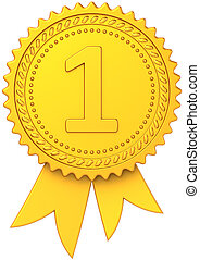 First place golden award ribbon