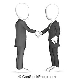 Deal - Two 3D caracters shaking hands.
