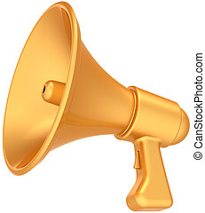 Megaphone golden luxury icon - Megaphone announcement news...