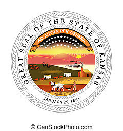 Kansas state seal - Seal of American state of Kansas;...