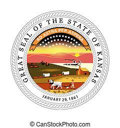 Kansas state seal - Seal of American state of Kansas;...