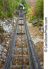 Rail of cable car - Use it for tourist only