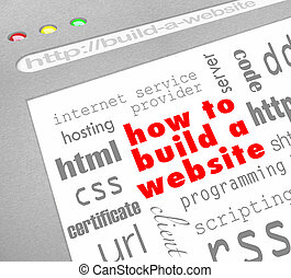 How to Build a Website - Web Screen - A web browser window...