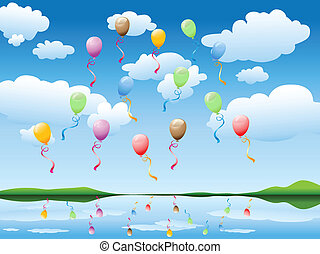 balloons in blue sky - many colorful balloons floating in...