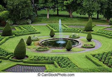Formal gardens in the Dunrobin Castle territory