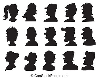 set of people profile silhouette for design