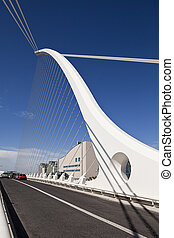Under Beckett Bridge - The cables and superstructure of the...
