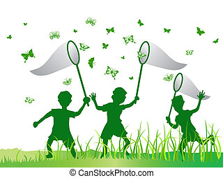 kids catching butterfly in green color