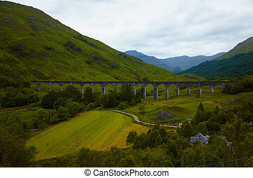 Glenfinnan Viaduct - View of Glenfinnan Viaduct, Scotland,...