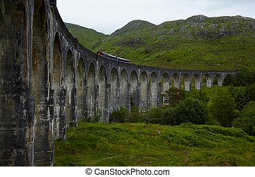 Glenfinnan Viaduct - View of Glenfinnan Viaduct, Scotland,...