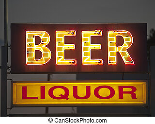 Generic Beer and Liquor Sign - Generic beer and liquor neon...