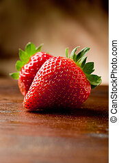 Strawberries on wooden table