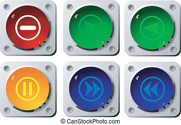 Set of buttons of media