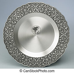 silver plate - Silver plate with floral arabesques for...