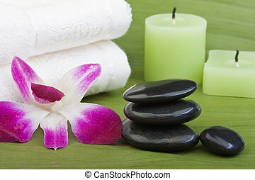 thermo-therapy stones with orchids 1 - black stones for...