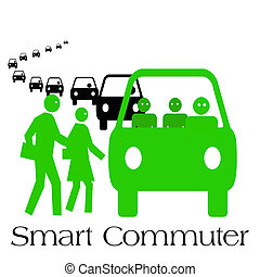 smart commuter - commuters boarding public transportation...