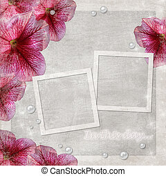 Flowers grunge background with two frames