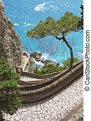 Capri view - Via Krupp - Coast of Capri Island, view of sea...