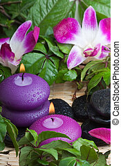 tropical relaxation 1 - wet purple toned candles and...