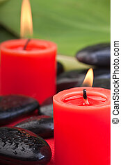 hotstones with red candles (1) - volcanic hotstones with red...