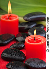hotstones with red candles 2 - volcanic hotstones with red...