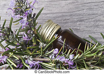 Rosemary. - Some rosemary with flowers and a jar with...