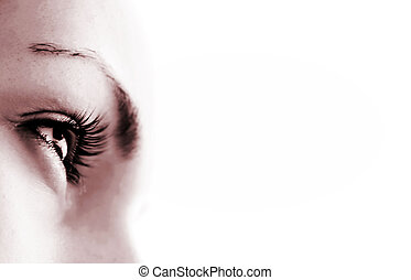 Women's eye - looking forward.Isolated on white. - Women's...