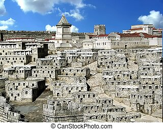 Model of ancient Jerusalem - Lower Town.Tomb of King David....
