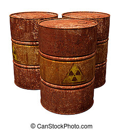 Toxic Waste Drums - Isolated illustration of three hazardous...
