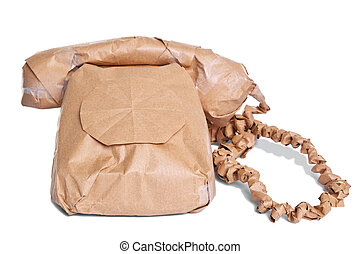 Telephone wrapped in brown paper cut out