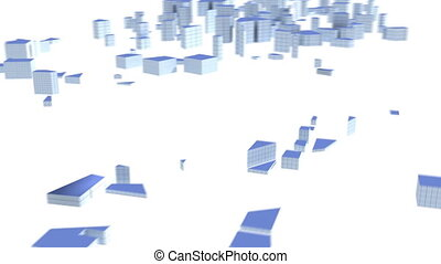 World Business - City buildings growing to form the map of...