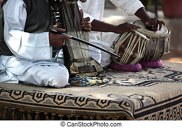Indian Violin Rajasthan India - a two man orchestra with a...