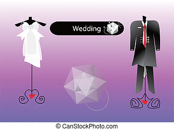 Abstract wedding dress for bride and bridegroom