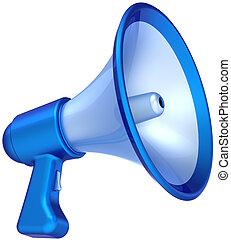 megáfono, comunicación, azul