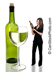 Woman with Wine - A beautiful woman holding a wine bottle...