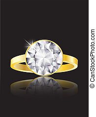 Diamond ring - An illustration of a diamond ring on black...