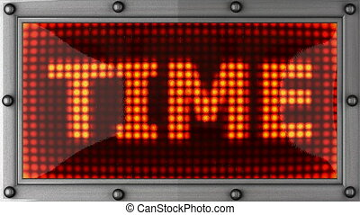 time  announcement on the LED display