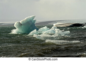 Gigantic iceberg floating on Jokulsarlon lagoon Iceland