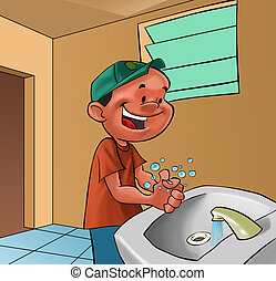 boy washing hands - smiling boy washing his hands in a bath...