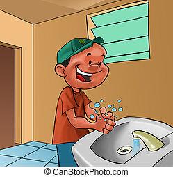 Menino, lavando, mãos