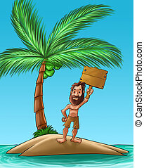 castaway with a big beard holding a wood plank