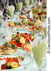 Festively covered table