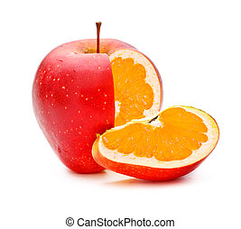 GMO Appleorange - red apple with orange fillings,...